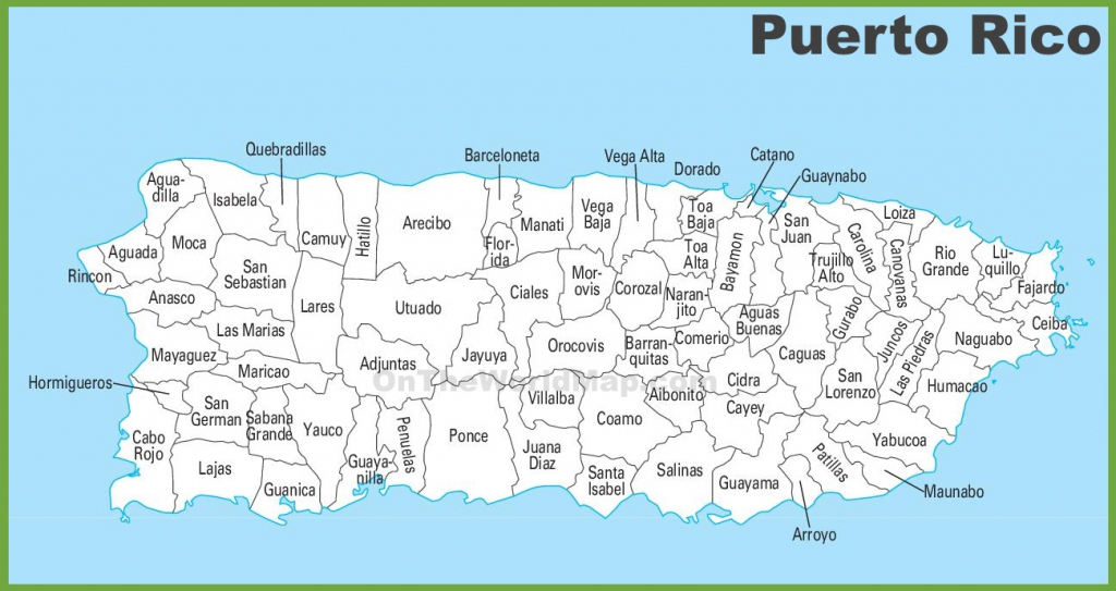 Puerto Rico Municipalities Map - Printable Map Of Puerto Rico intended for Outline Map Of Puerto Rico Printable