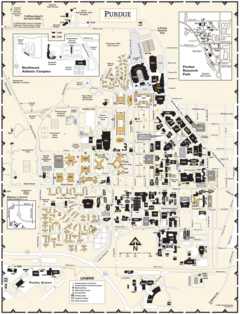 Purdue University Campus Map, Circa 2014, Pg 2 | Purdue | Purdue with regard to Duke University Campus Map Printable