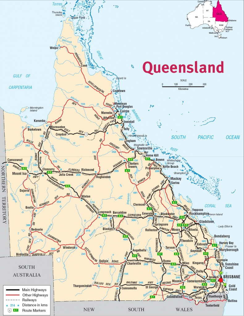 Queensland Map Road Australia 1 - World Wide Maps within Queensland Road Maps Printable