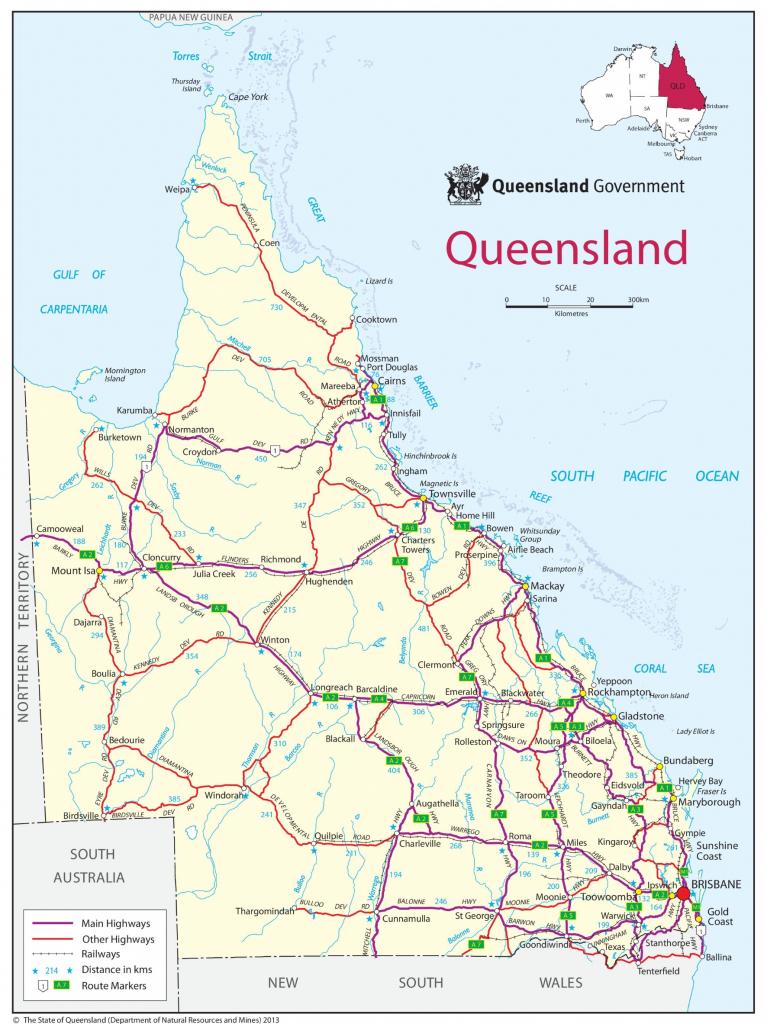 Queensland Road Map for Queensland Road Maps Printable