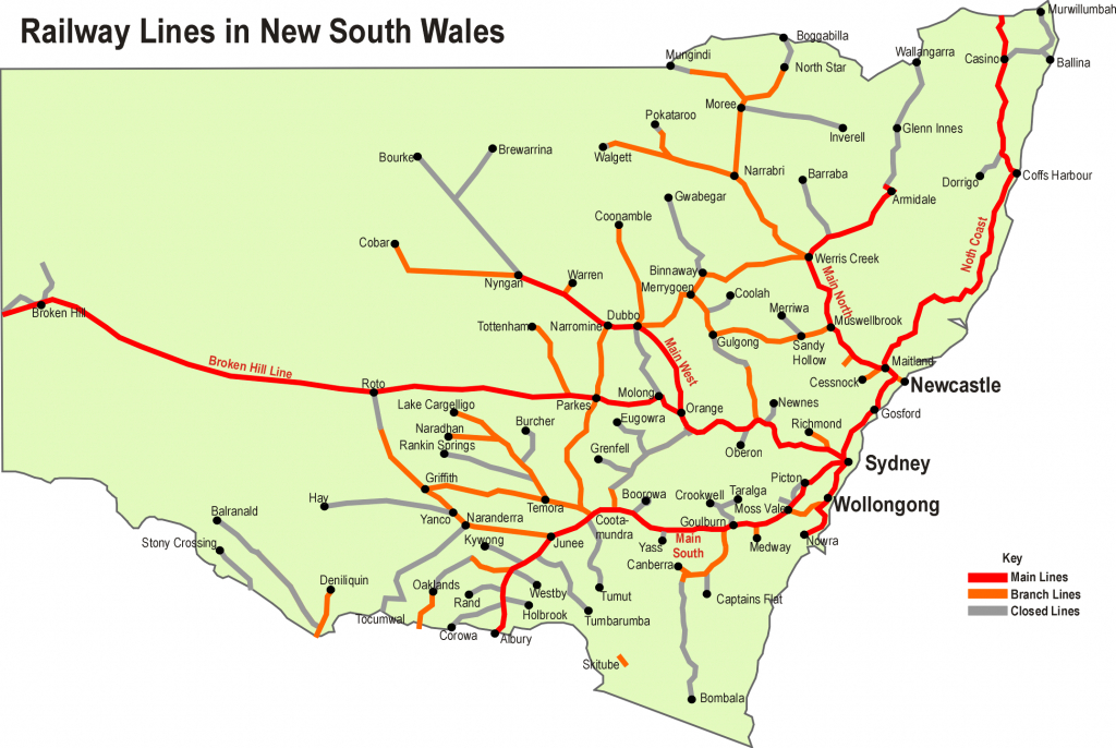 Rail Transport In New South Wales - Wikipedia with regard to Printable Map Of Newcastle Nsw