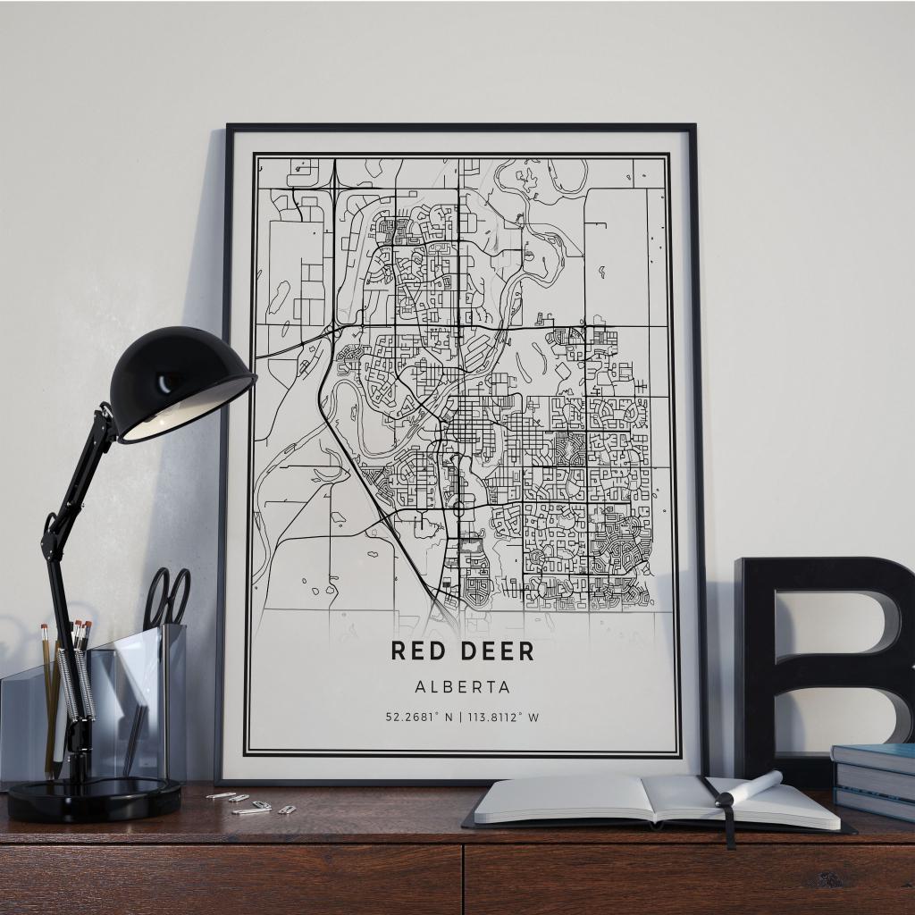Red Deer Map Poster Print Wall Art Alberta Gift Printable | Etsy for Printable Red Deer Map
