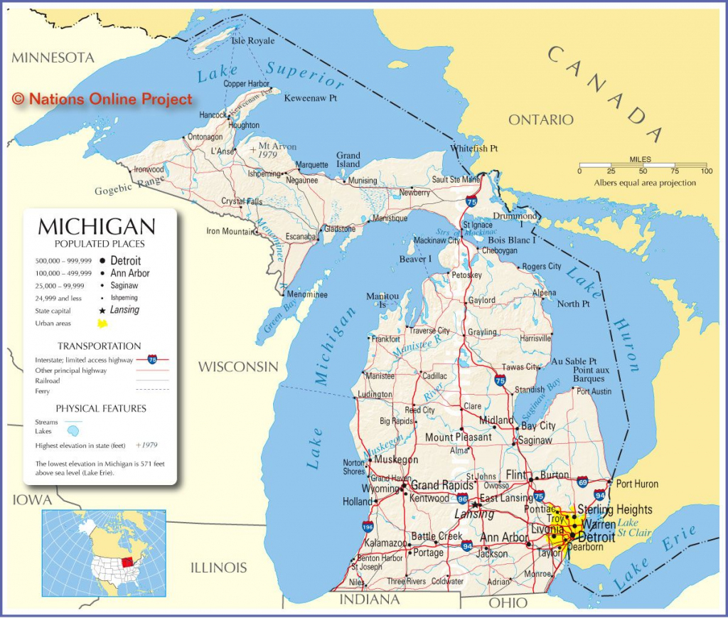 Reference Map Of Michigan, Usa - Nations Online Project | ~ The for Printable Map Of Michigan