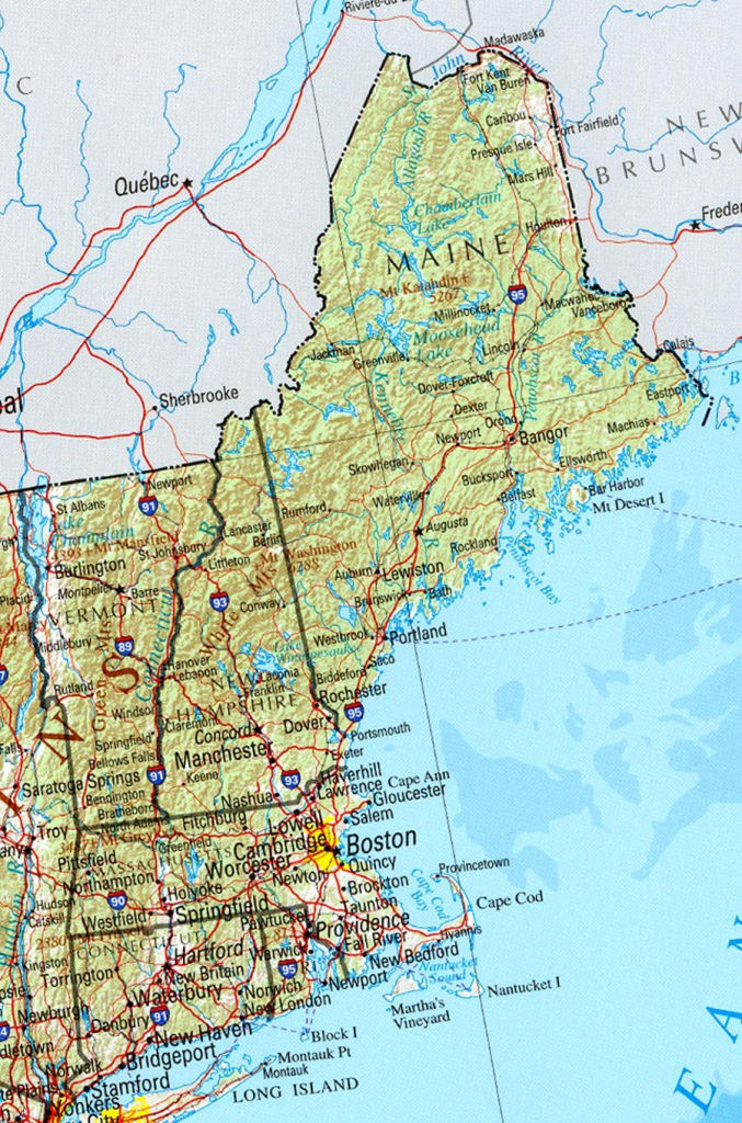 Reference Map Of New England State, Ma Physical Map | Crafts intended for Printable Road Map Of Maine
