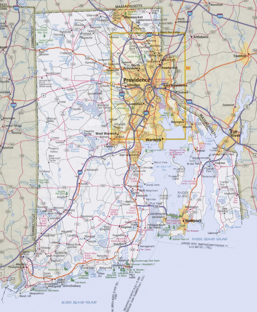 Rhode Island Road Map throughout Printable Map Of Rhode Island