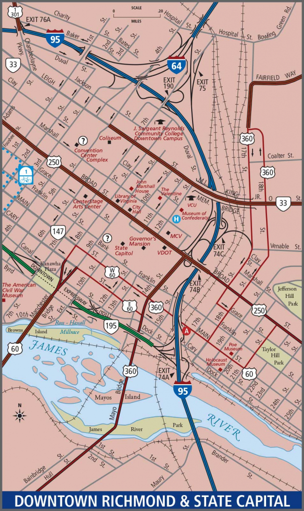 Richmond - Downtown Map pertaining to Printable Map Of Richmond Va
