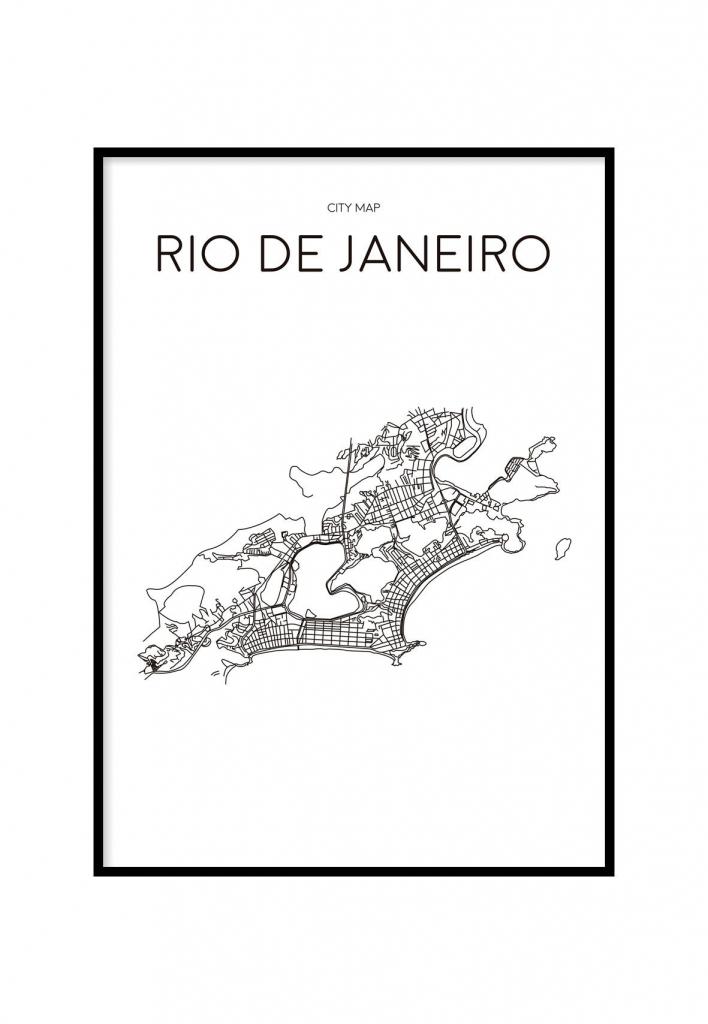 Rio De Janeiro Minimalist Map White, Printable | C A S A | Rio De within Printable Map Of Rio De Janeiro