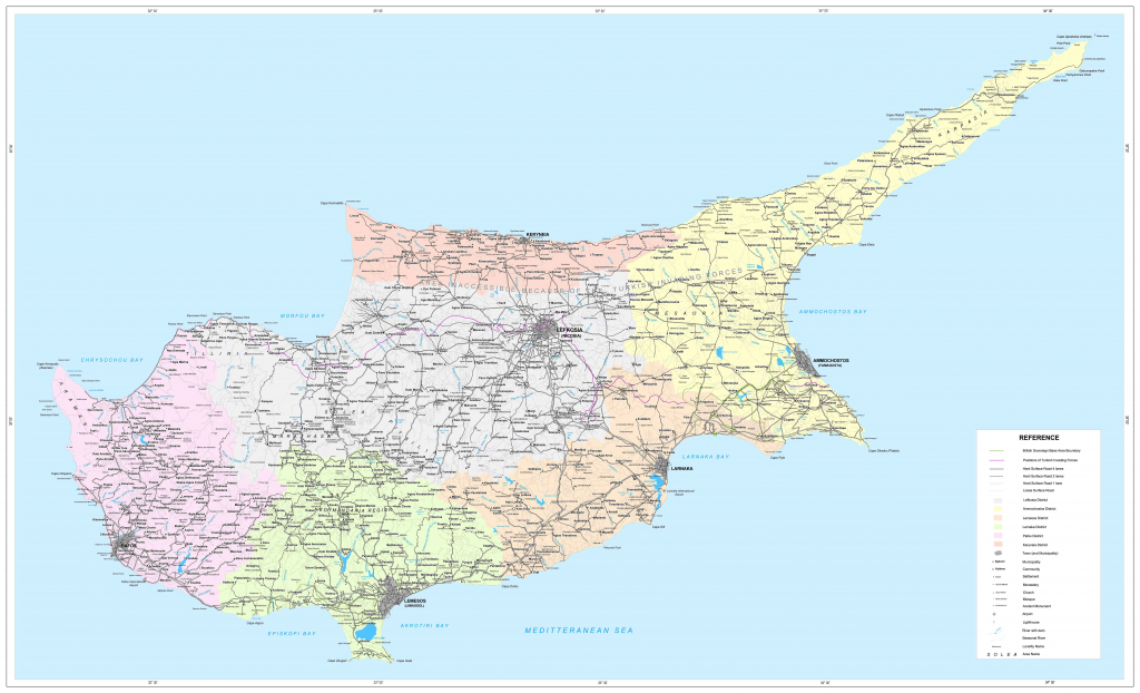Road Map Of Cyprus | Tourist Map Of Cyprus | Maps Of Districts In Cyprus in Printable Map Of Cyprus
