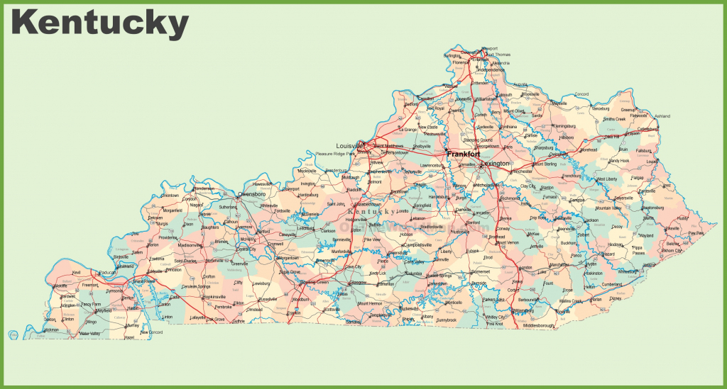 Road Map Of Kentucky With Cities throughout Printable Map Of Kentucky Counties