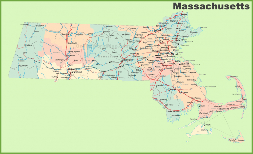Road Map Of Massachusetts With Cities within Printable Map Of Massachusetts