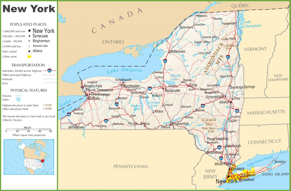 Road Map Of New York State Printable | Printable Maps intended for Road Map Of New York State Printable