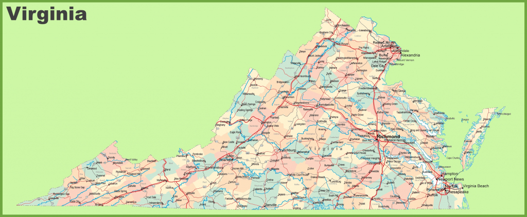 Road Map Of Virginia With Cities regarding Printable Map Of Virginia
