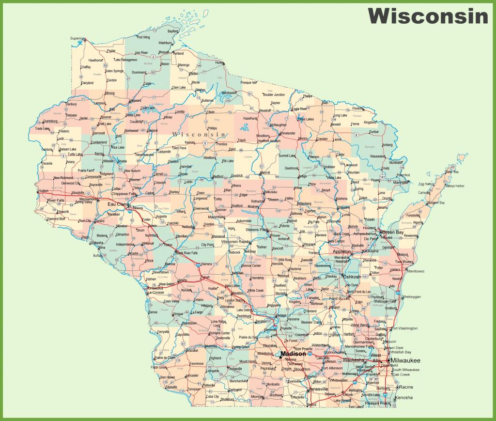 Road Map Of Wisconsin With Cities regarding Printable Map Of Wisconsin