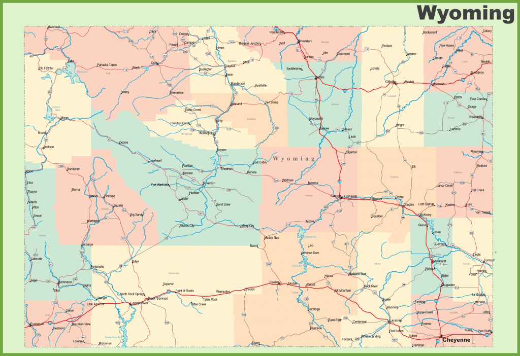 Road Map Of Wyoming With Cities with Printable Map Of Wyoming