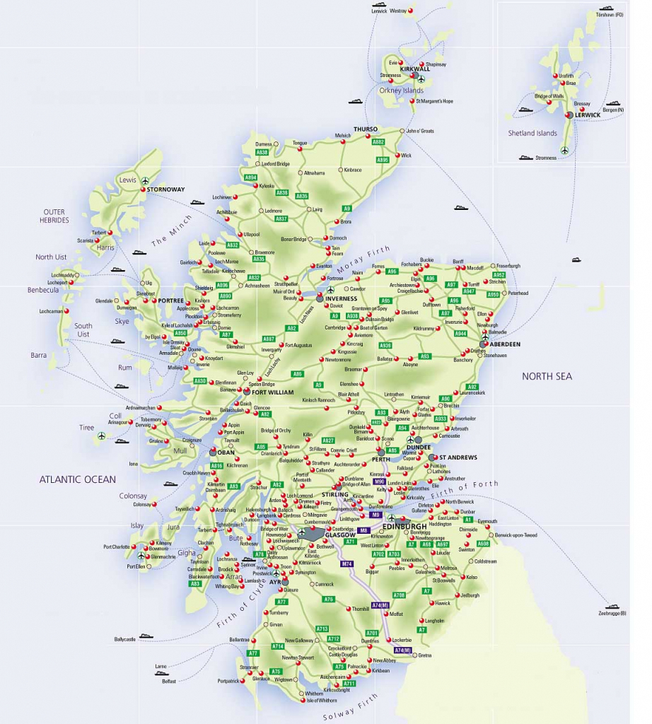 Roadmap Of Scotland – Scotland Info Guide with Printable Road Map Of Scotland