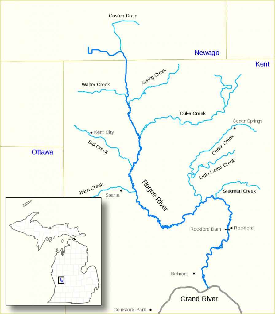 Rogue River (Michigan) - Wikipedia in Michigan River Map Printable
