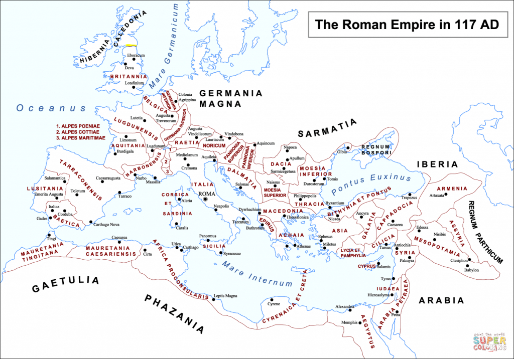 Roman Empire Map Coloring Page | Free Printable Coloring Pages within Roman Empire Map For Kids Printable Map