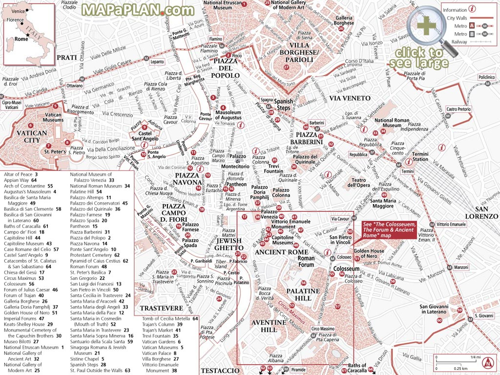 Rome Maps - Top Tourist Attractions - Free, Printable City Street Map inside Printable Map Of Rome
