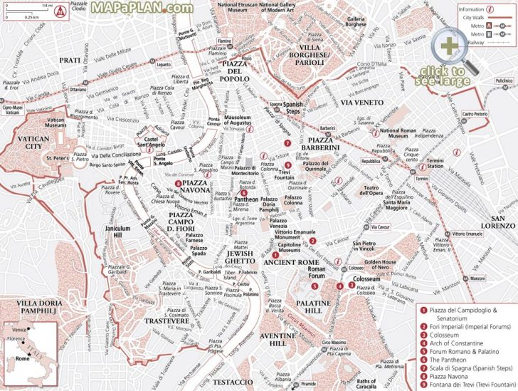 Printable Map Of Rome City Centre