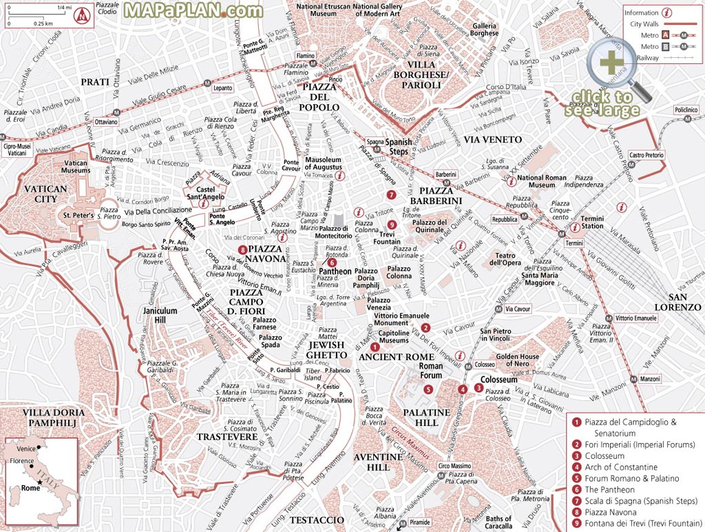 Rome Maps - Top Tourist Attractions - Free, Printable City Street Map within Printable Map Of Rome City Centre