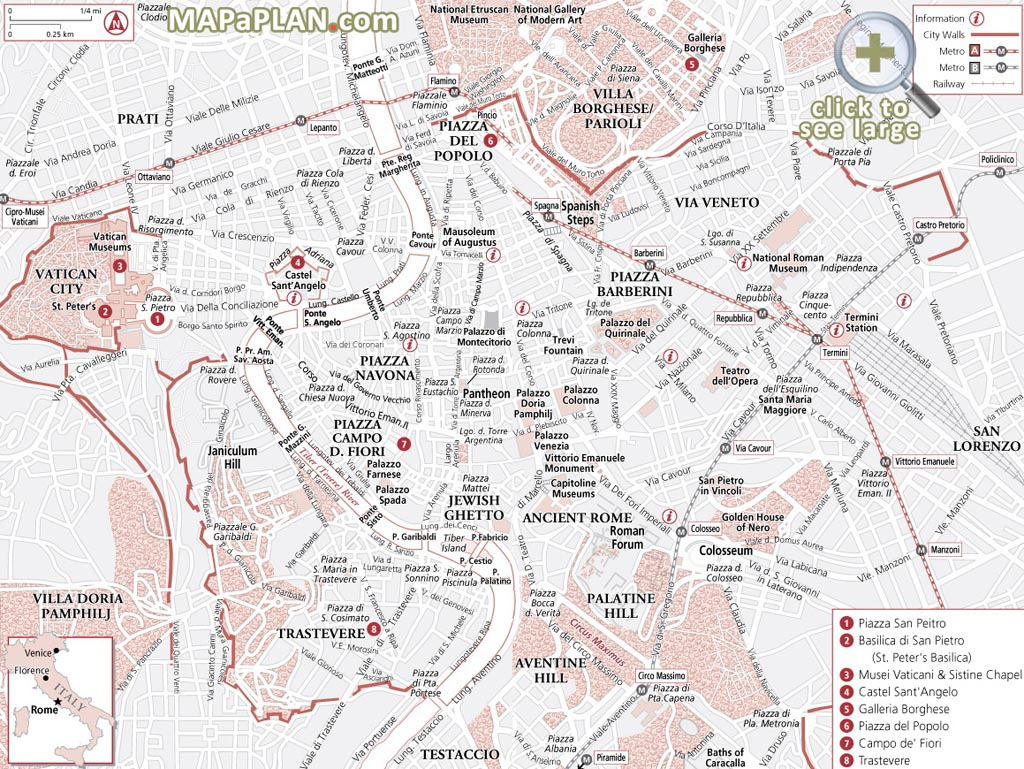 Rome Maps - Top Tourist Attractions - Free, Printable City Street with Street Map Of Rome Italy Printable