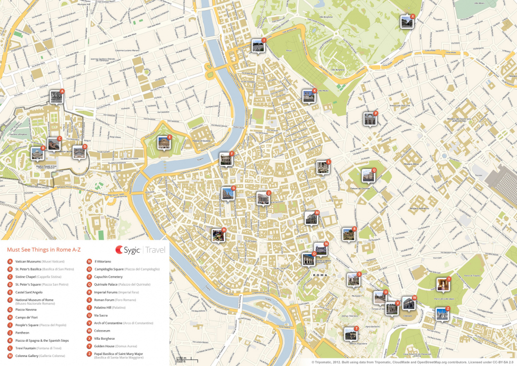Rome Printable Tourist Map | Sygic Travel inside Printable Map Of Rome Attractions
