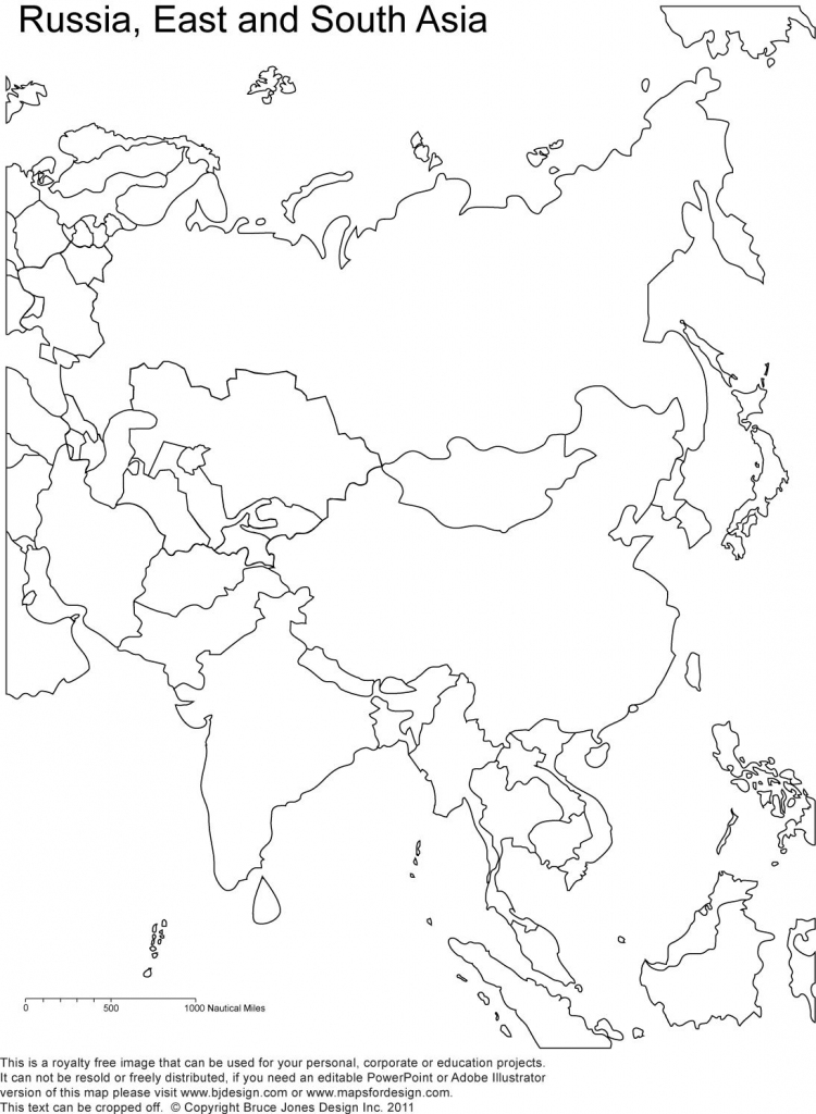 Russia And Asia, Blank Printable Map, Royalty Free | Geography intended for Printable Map Of Asia