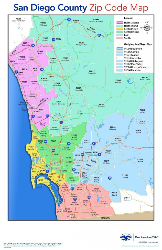San Diego County Zip Code Map - San Diego County Map With Zip Codes regarding San Diego County Zip Code Map Printable