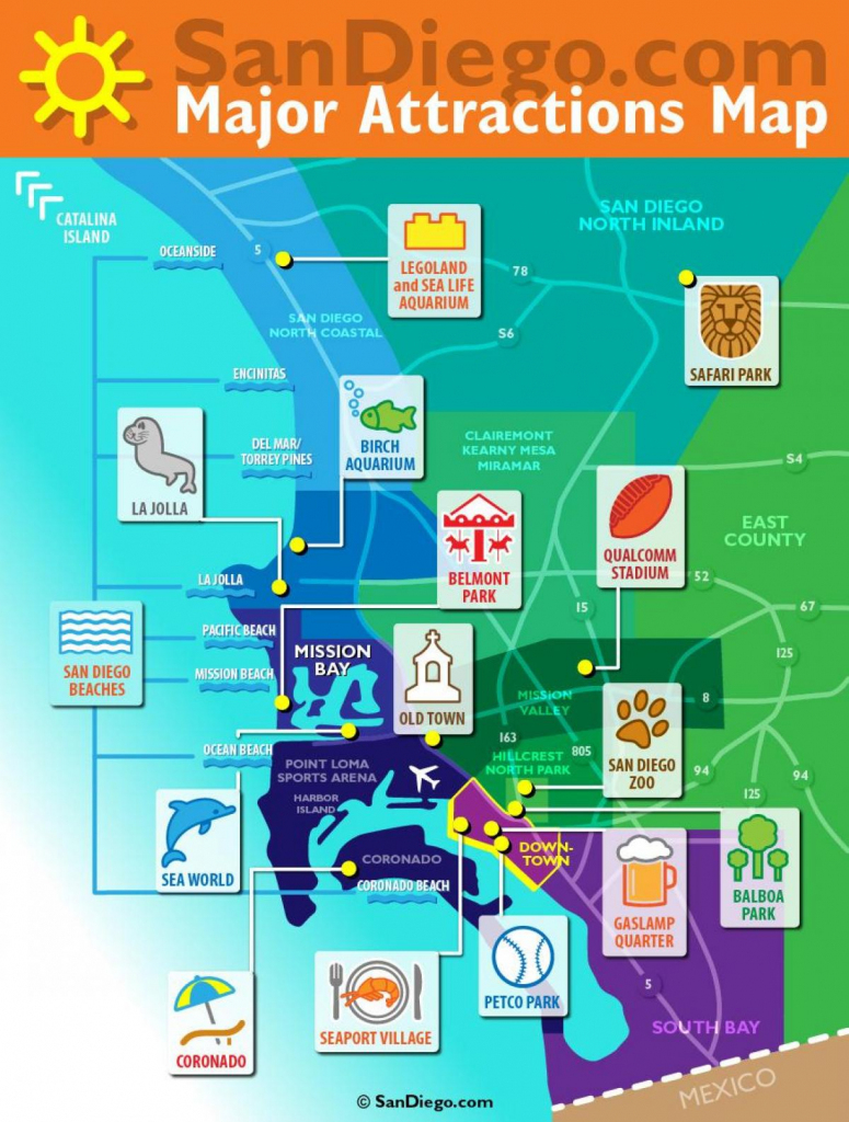San Diego Tourism Map - San Diego Attraction Map (California - Usa) with San Diego Attractions Map Printable