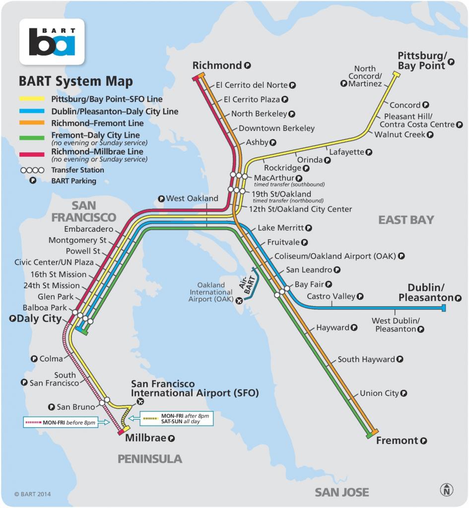 San Francisco Bart Map inside Printable Bart Map