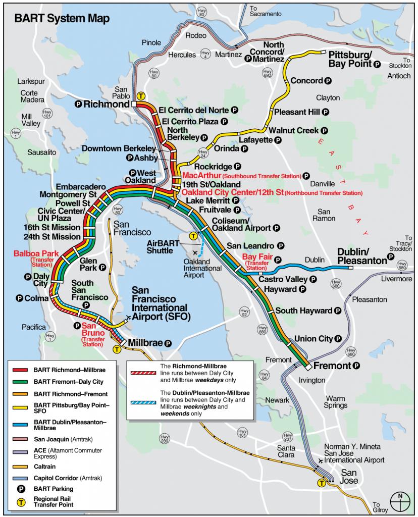San Francisco Bart System Map (Railway) - Mapsof | San Fran regarding Printable Bart Map