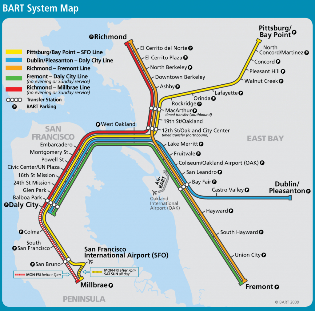 San Francisco Bay Area Metro Map (Bart) - Great Way To Get From The pertaining to Printable Bart Map