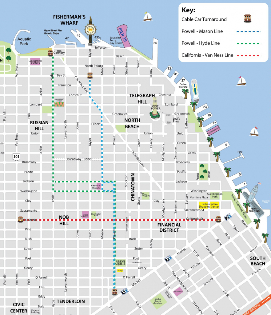 San Francisco Cable Car Map - Sf Trolley Map - City Sightseeing Tours inside Printable Map San Francisco Cable Car Routes