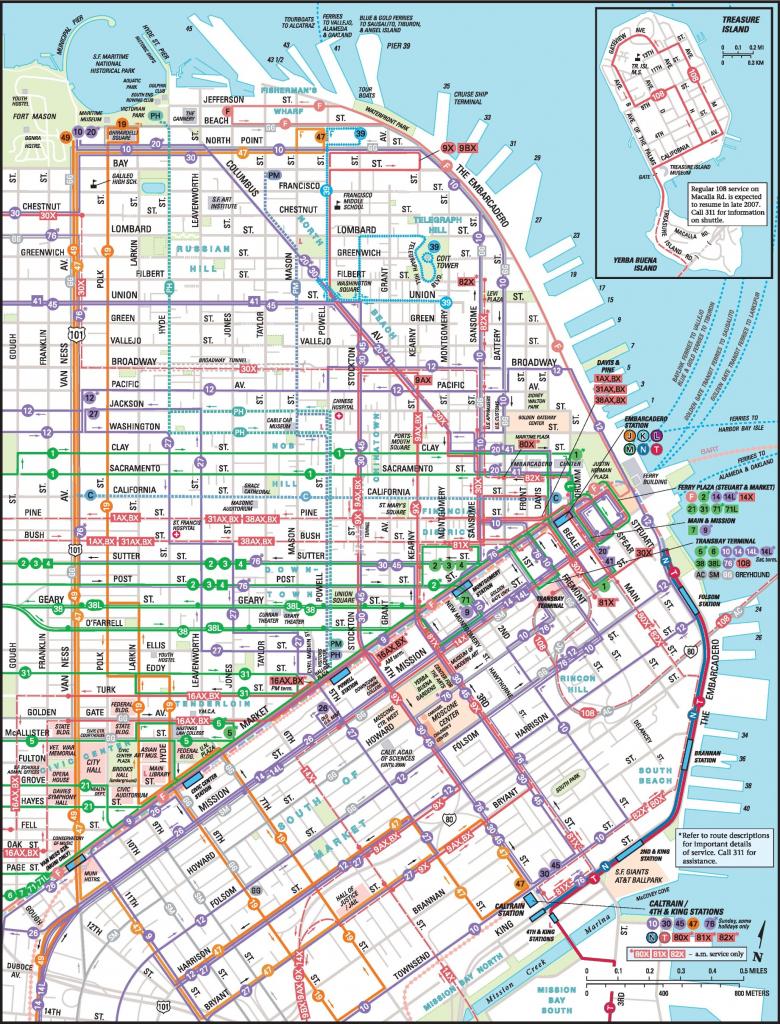 San Francisco Downtown Muni Map with regard to Printable Map Of San Francisco Downtown