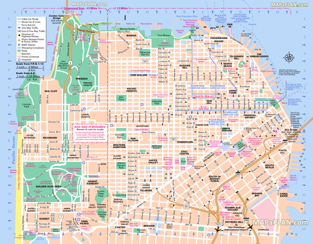 San Francisco Maps - Top Tourist Attractions - Free, Printable City inside Printable Map Of San Francisco Streets