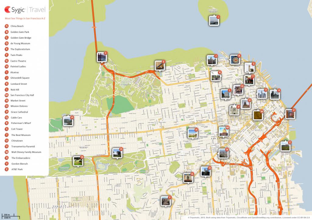 San Francisco Printable Tourist Map | Sygic Travel throughout Printable Map Of San Francisco Streets