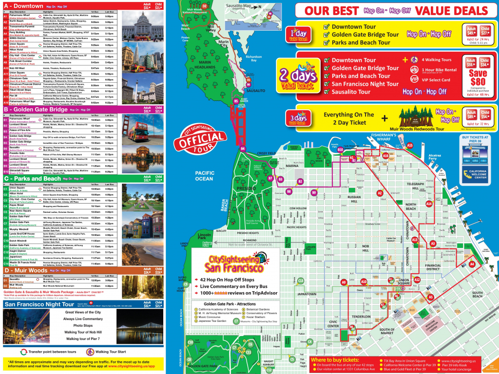 San Francisco Tourist Attractions Map And Travel Information for Map Of San Francisco Attractions Printable
