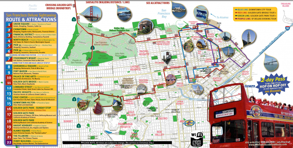 San Francisco Tourist Map Printable | Maps Update #21051488: San inside Map Of San Francisco Attractions Printable