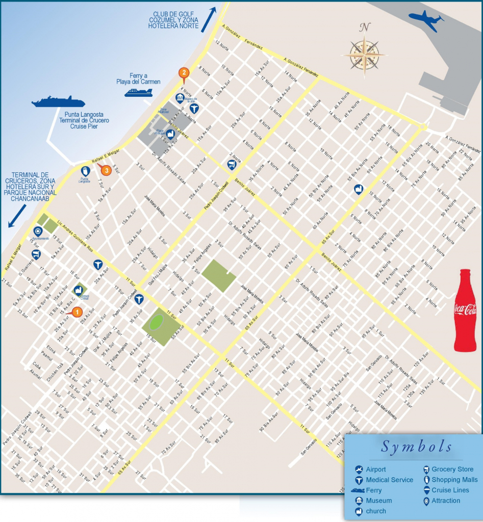 San Miguel De Cozumel Tourist Map pertaining to Printable Map Of Cozumel Mexico