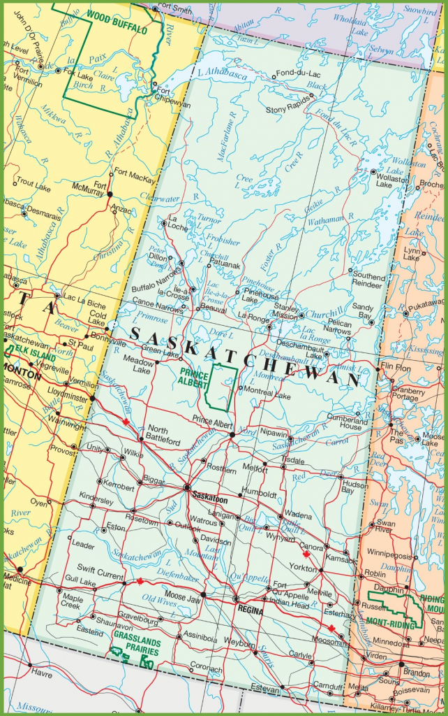 Saskatchewan Road Map for Printable Map Of Saskatchewan