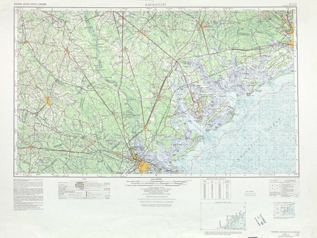 Savannah Topographic Maps, Sc, Ga - Usgs Topo Quad 32080A1 At 1 with Printable Map Of Savannah Ga