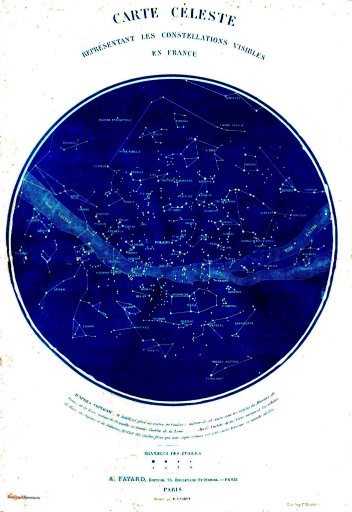 Science - Astronomy - Map - Celestial Map Of Constellations Visible with Printable Constellation Map