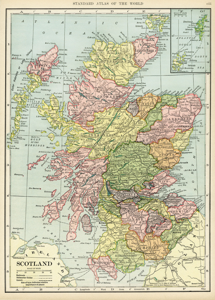 Scotland Map, Vintage Map Download, Antique Map, C. S. Hammond within Printable Map Maker