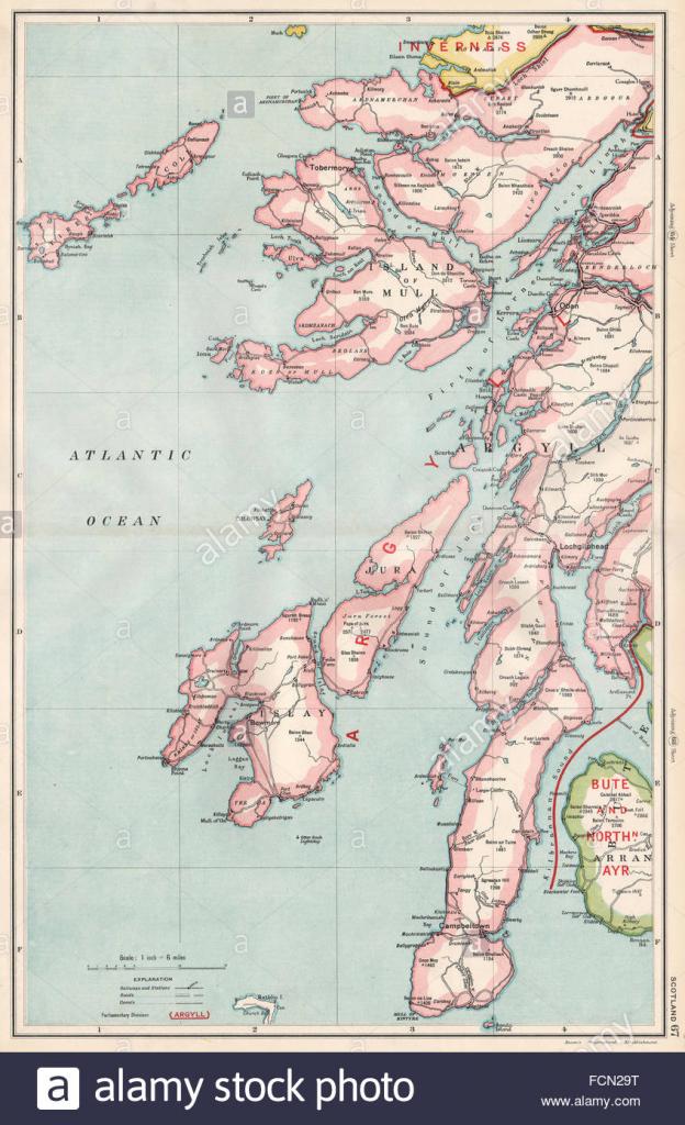 Scottish Islands/argyll:mull Islay Of Kintyre Jura Arran Stock Photo throughout Printable Map Of Mull