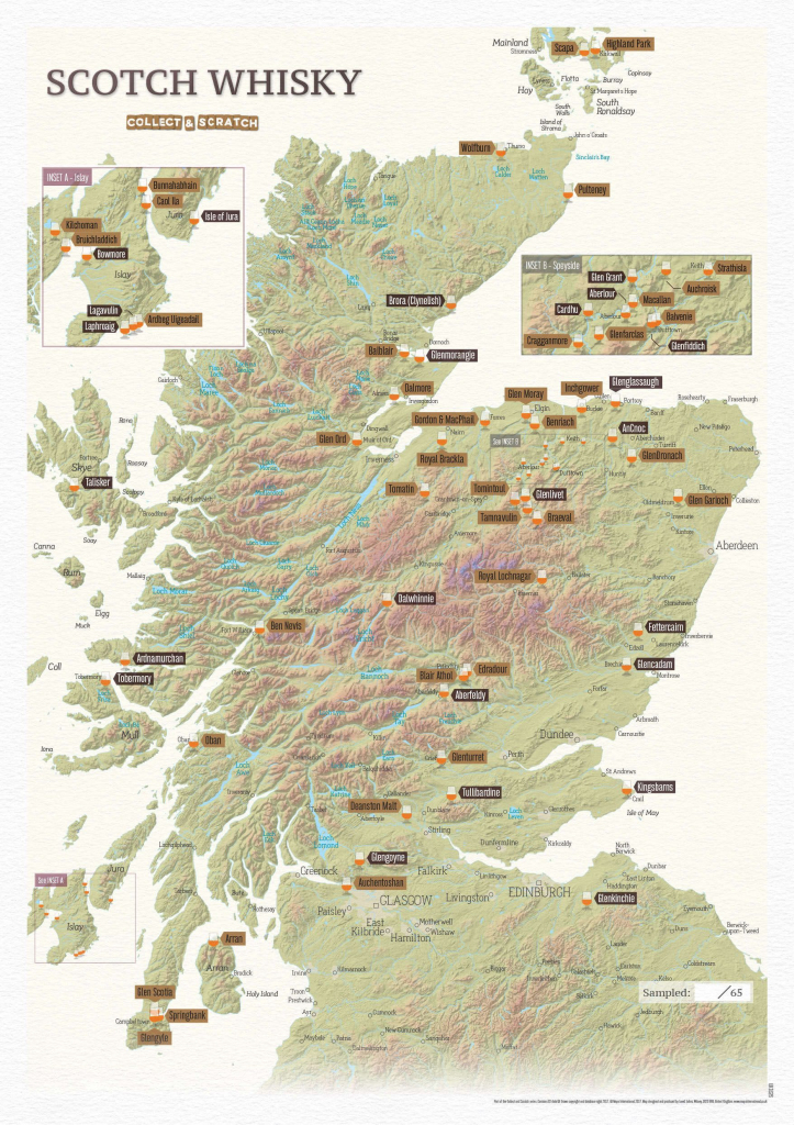 Scratch Off Scotland Whisky Distilleries Print regarding Printable Map Of Scotland