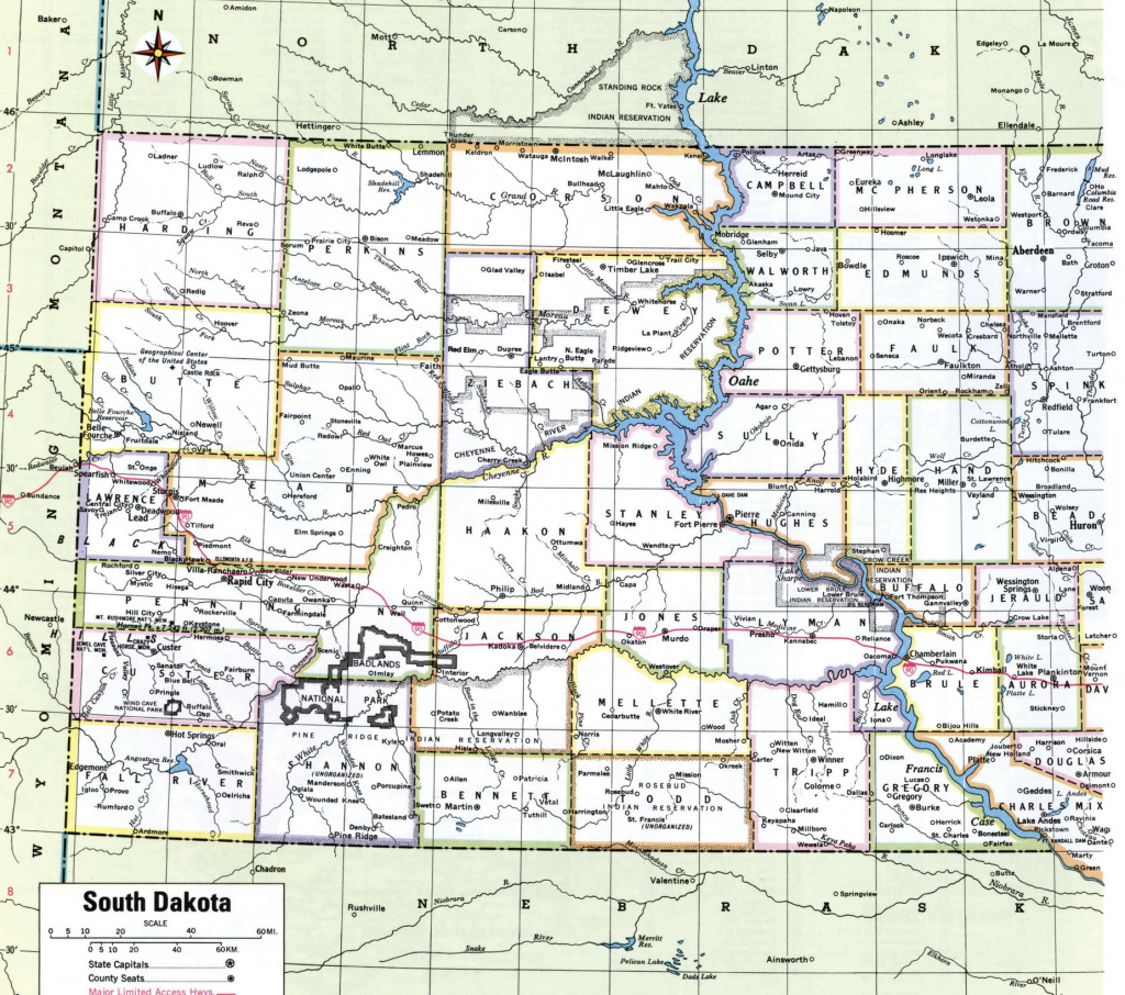 Sd Counties Map And Travel Information   Download Free Sd Counties Map within South Dakota County Map Printable