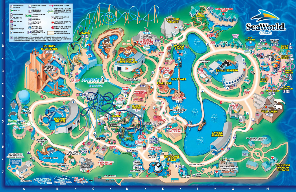 Seaworld Orlando Theme Park Map - Orlando Fl • Mappery | Aquariums with Seaworld Orlando Park Map Printable