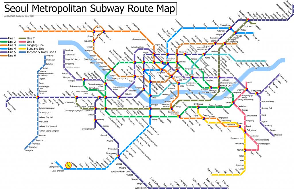 Seoul Subway Map | Seoul / Korea In 2019 | Seoul Map, Korea Map intended for Printable Seoul Subway Map
