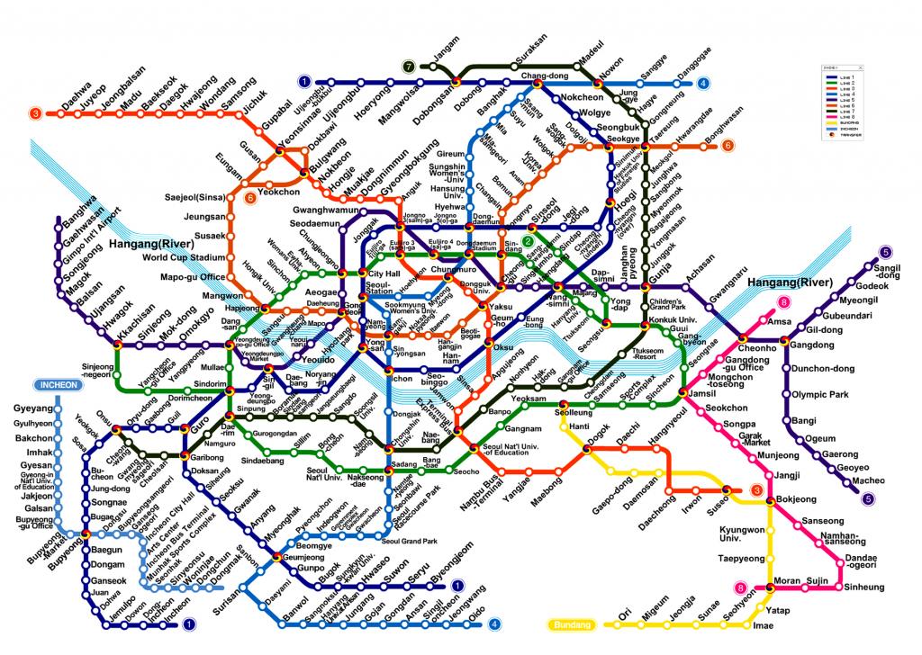 Seoul Subway Metro Map English Version (Updated) with Printable Seoul Subway Map