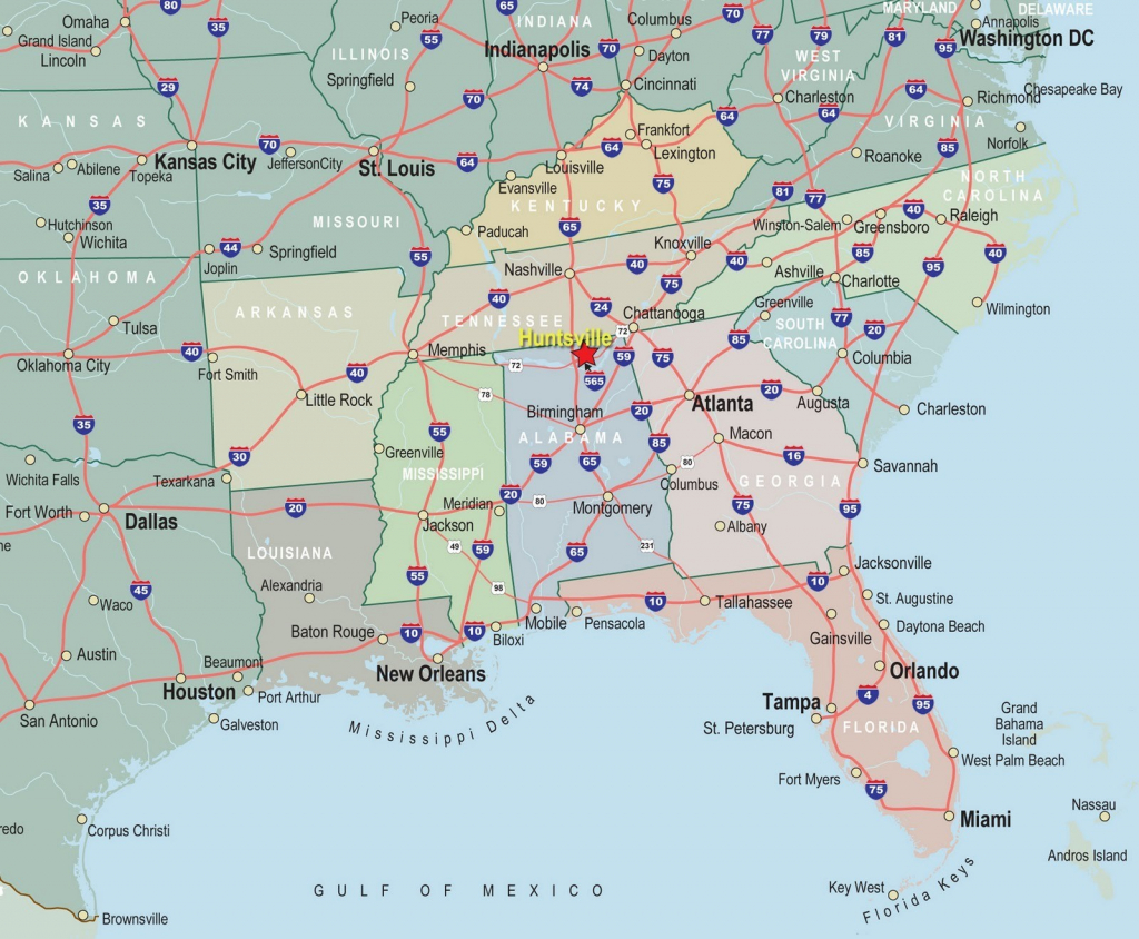 Significant Cities On Us Map Major Cities In The Usa pertaining to Printable Map Of Southeast Us